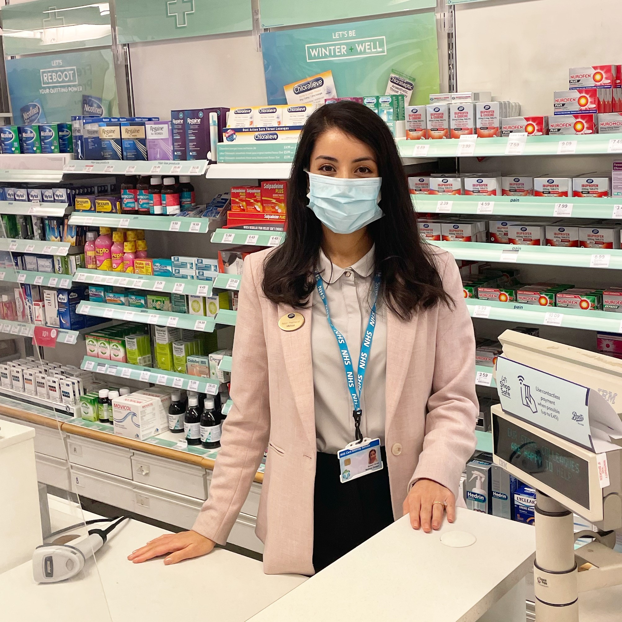 Pharmacist Melissa in the Boots pharmacy
